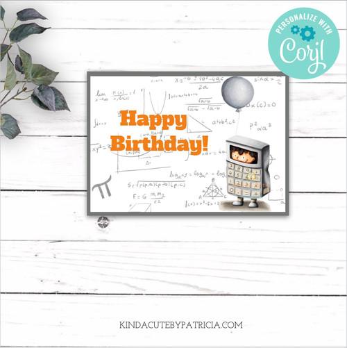 Happy Birthday Mathematics Printable Card Editable file