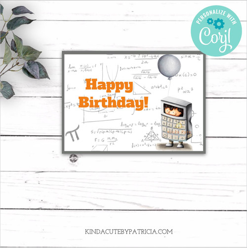 Happy Birthday Mathematics Printable Card Editable file