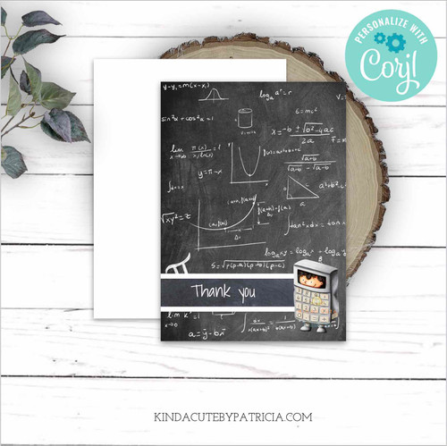Mathematics Thank You Card. Printable Card Editable file