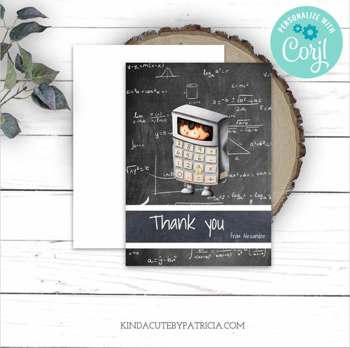 Personalized Math Thank You Card with a Calculator Boy. Printable Card Editable file