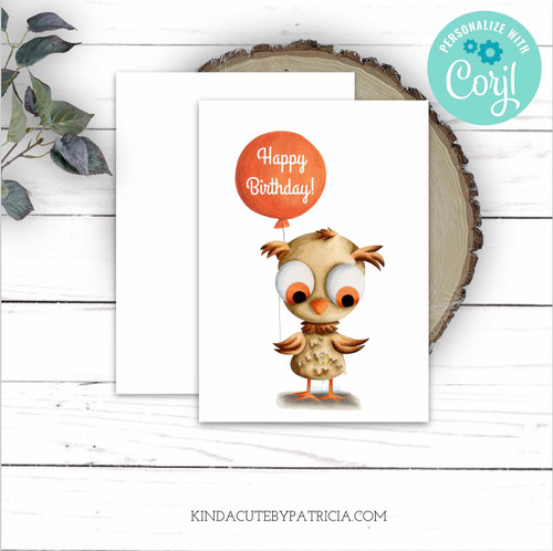 Cute Brown Owl with Balloon Birthday Card. Printable File. Editable file.