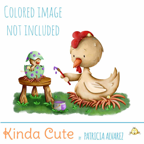 Chicken painting eggs Easter digital stamp