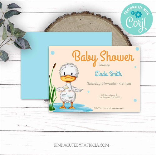 Editable little duckling baby shower invitation. Printable file.