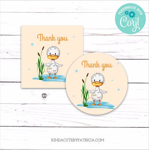 Thank you printable stickers with a duck. Editable file