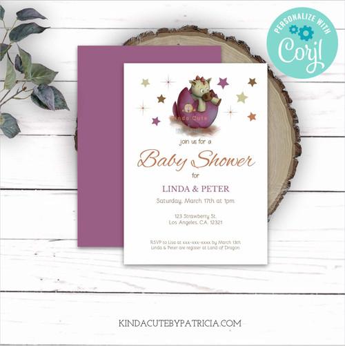 Little dinosaur Baby Shower Invitation for Girls. Editable file.