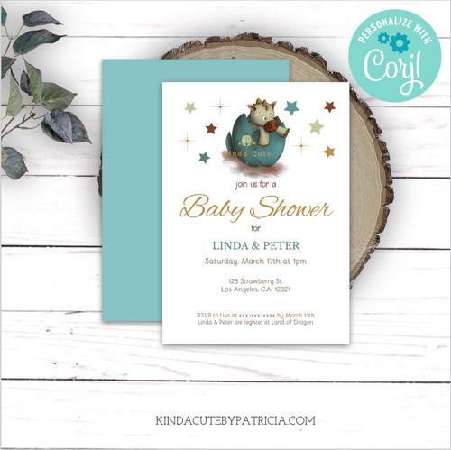 Little Dragon Neutral Baby Shower Invitation. Editable file.