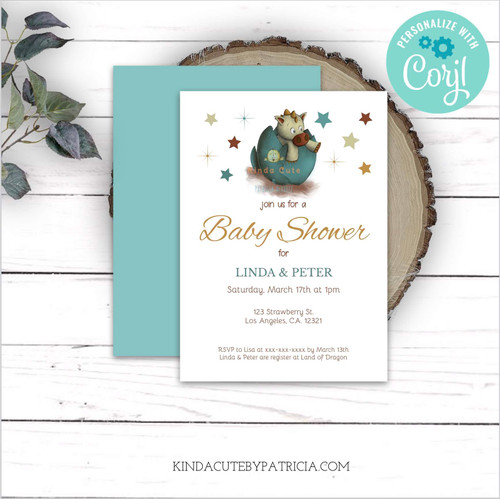 Little Dragon Neutral Baby Shower Invitation. Editable file.