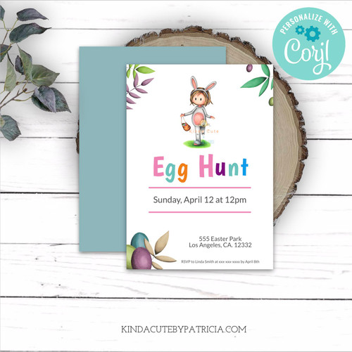 Egg Hunt Easter Invitation with a Girl in Bunny Costume. Editable file.