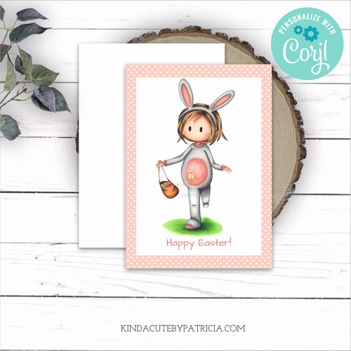 Happy Easter printable card. Girl with bunny costume