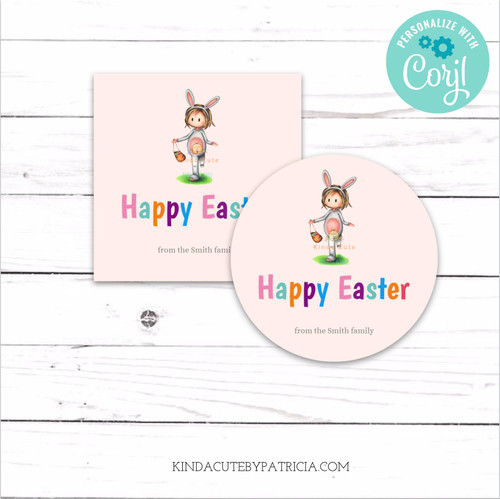 Happy Easter personalized printable tags