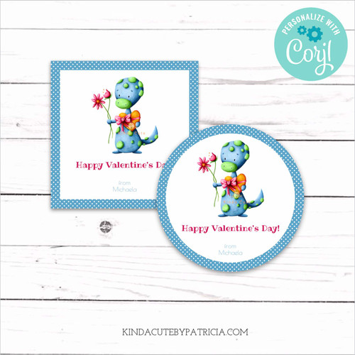 Personalized printable stickers for Valentine's day with a lizard