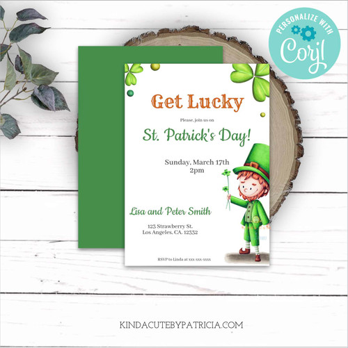 Editable St. Patrick's Day invitation with a leprechaun and clovers. Edit the information yourself. Print at home.