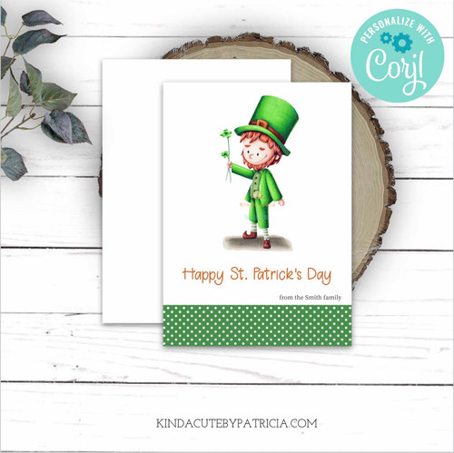 Printable Leprechaun Greeting Card. Editable file
