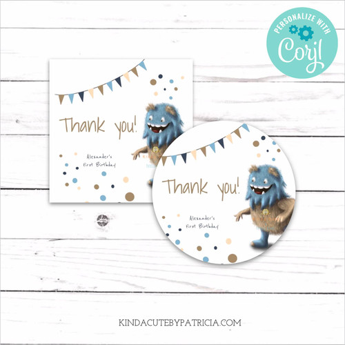 Personalized Monster First Birthday Stickers. Printable File.