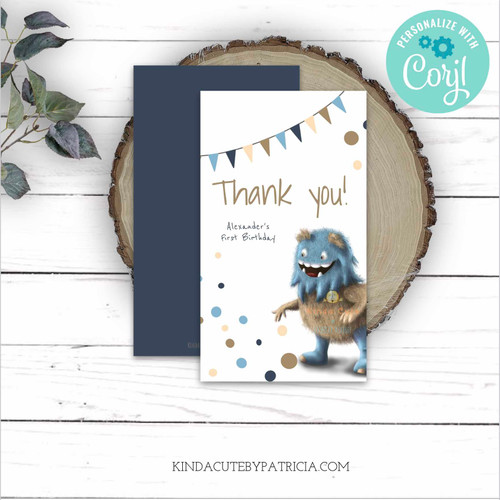 Editable Monster Thank you tags. Printable file
