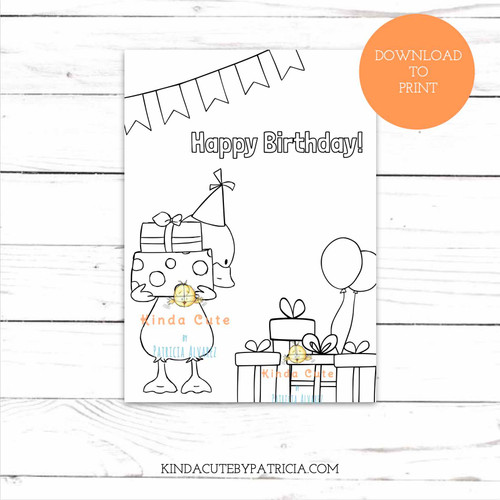 Little Duck with Presents Birthday Coloring Card