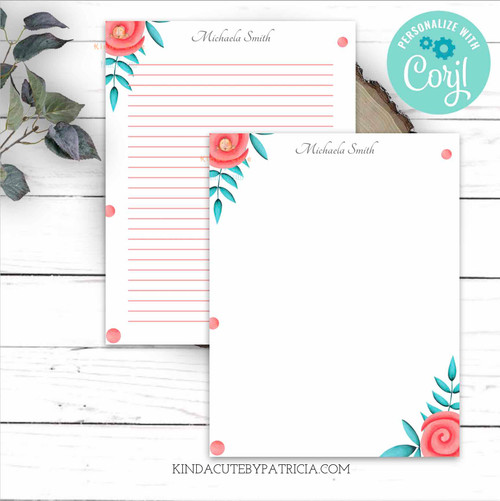 printable roses stationery. Printable lined paper.