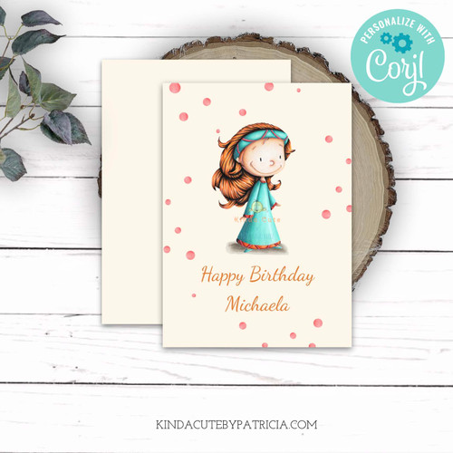 Editable Red Hair Princess Birthday Card. Printable file.