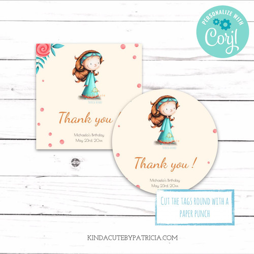 Editable Princess Birthday Tags or Stickers. Printable File