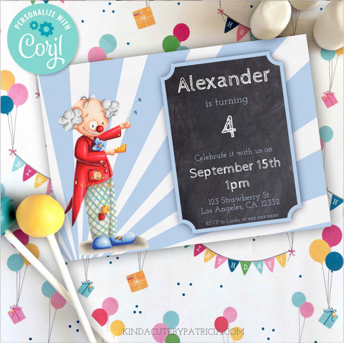 Editable Happy Clown Birthday Invitation