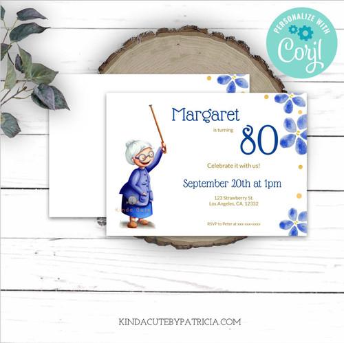 Editable Grandmother Birthday Invitation. Printable file