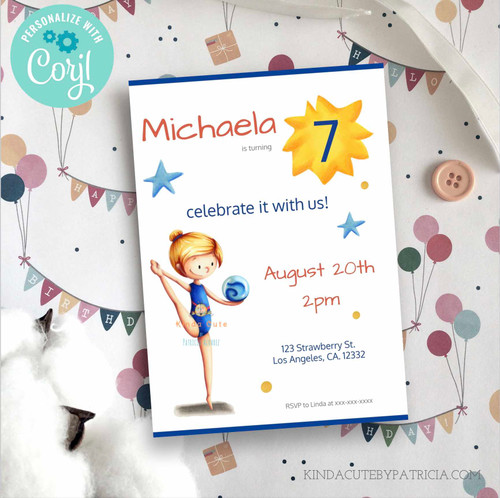 Cute Rhythmic Gymnast Birthday Invitation. Printable file.