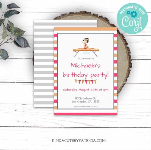 Editable Gymnast on Beam Birthday Invitation. Printable file