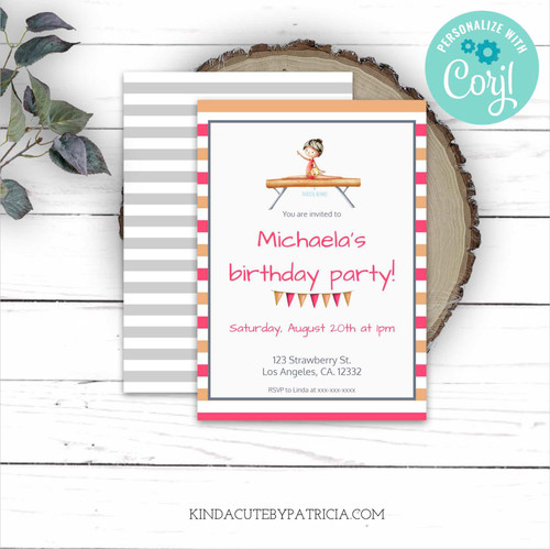 Editable Gymnast on Beam Birthday Invitation. Printable file