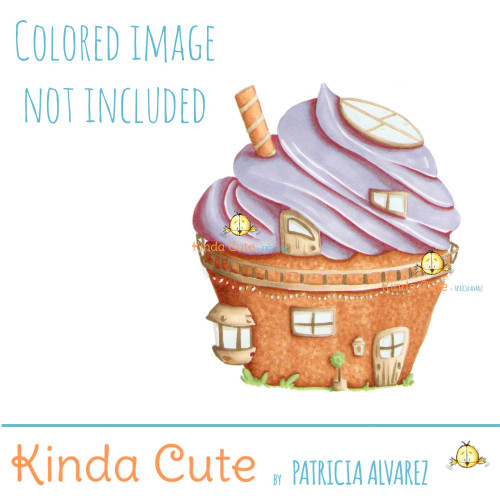 Cupcake House Digital stamp. Black and white only. Colored for reference.