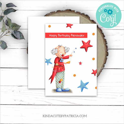 Happy Clown Editable Printable Birthday Card