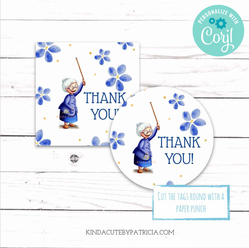 Thank you printable stickers with an old lady. Editable file.