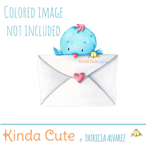 Little bird with letter digital stamp