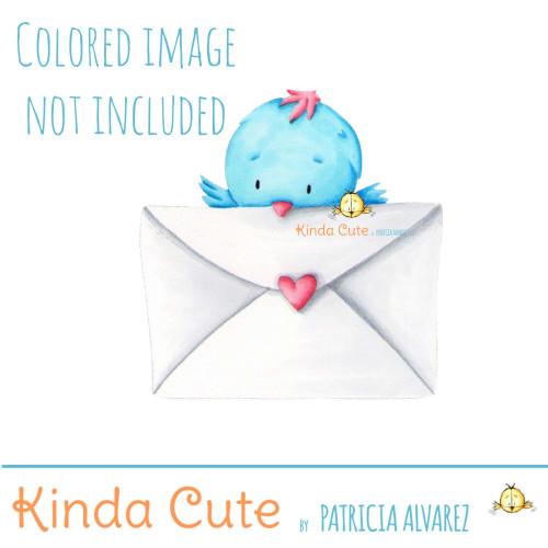 Little bird with letter digital stamp