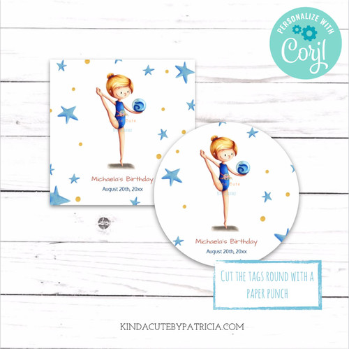 Personalized Editable Gymnast Printable Birthday Stickers.