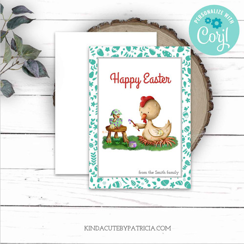Hen painting Easter Eggs Editable Card