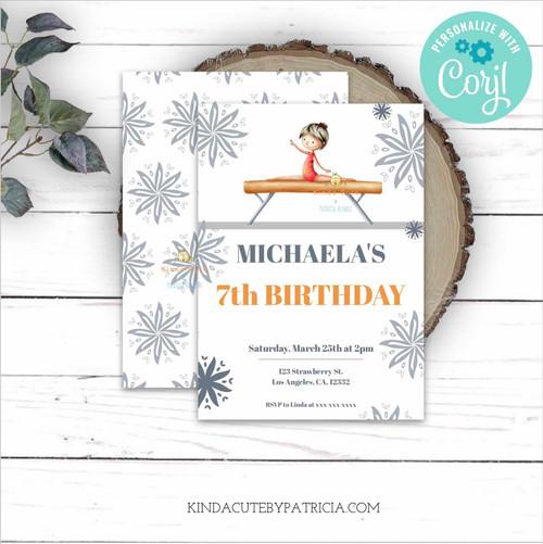 Gymnastics Birthday Invitation with girl on a beam. Editable file. Printable invitation.