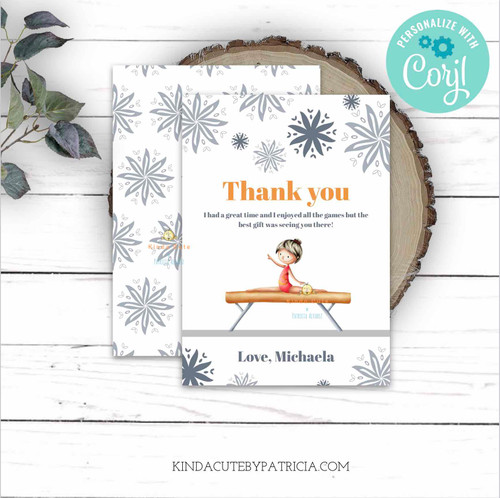 Floral Gymnastics Themed Thank You flat cards. Printable file.