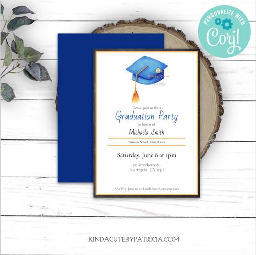 Blue Graduation Cap Party Invitation. Printable Invitation.