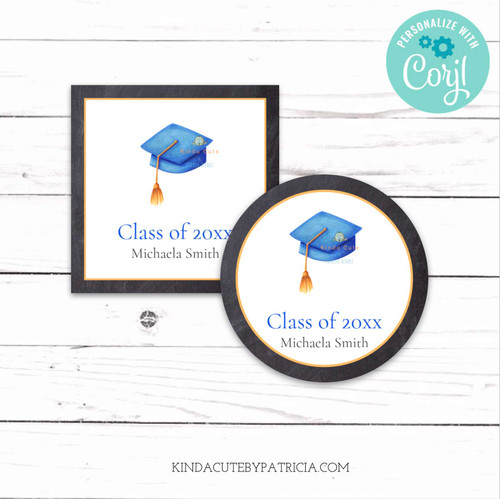 Graduation Cap Personalized Class Stickers. Printable file.
