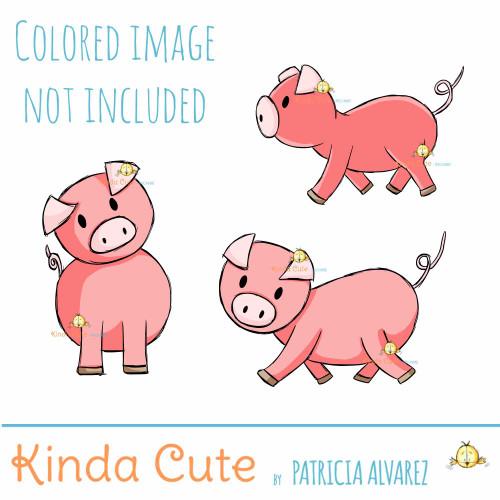 Piggy Set Digital Stamp