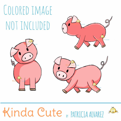 Piggy Set Digital Stamp