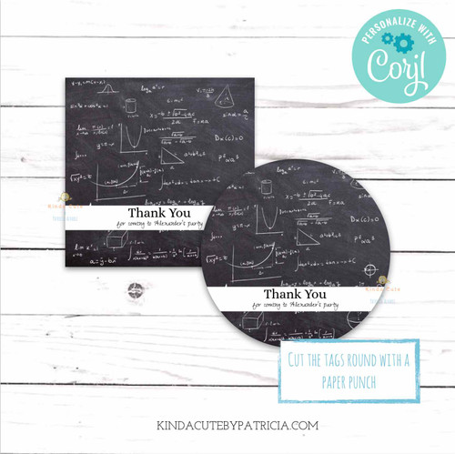 Mathematics Themed Thank You Tags. Printable File. Editable