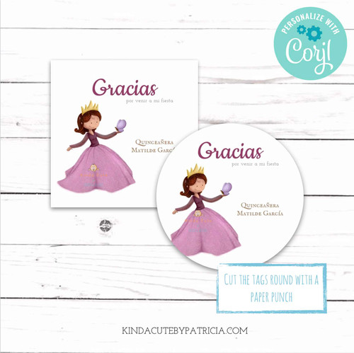 Minimalist Quinceañera Birthday Celebration Stickers. Printable file.