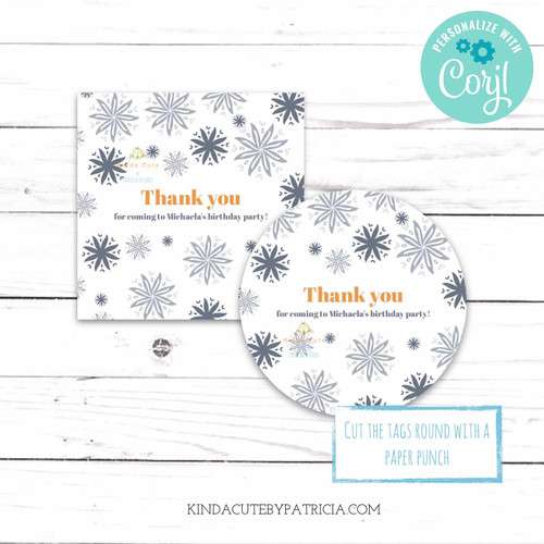 Grey floral Thank you Tags. Printable Editable File.