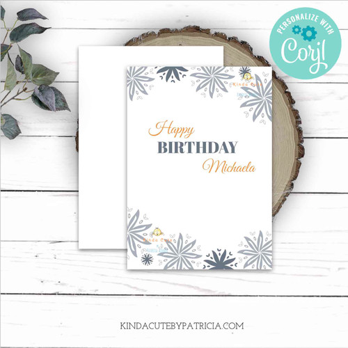 Grey floral minimalist Birthday card. Editable Printable file.