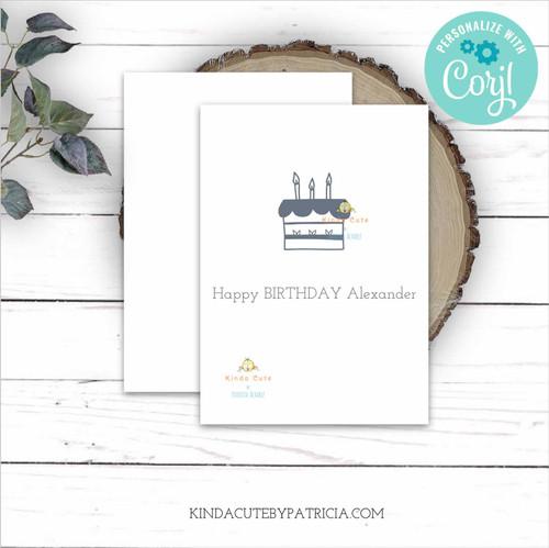 Minimalist Grey Cake Personalized Birthday Card Printable File