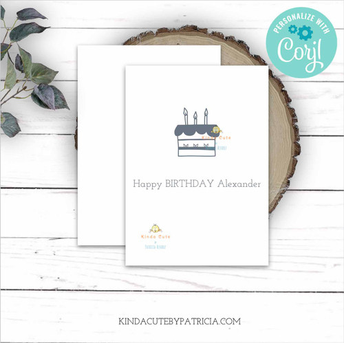 Minimalist Grey Cake Personalized Birthday Card Printable File