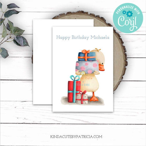 Duck with presents birthday card