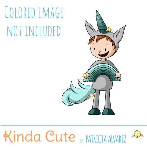 Boy with unicorn costume digital stamp
