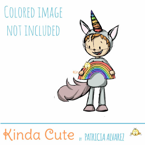 Boy in unicorn costume sketch digital stamp